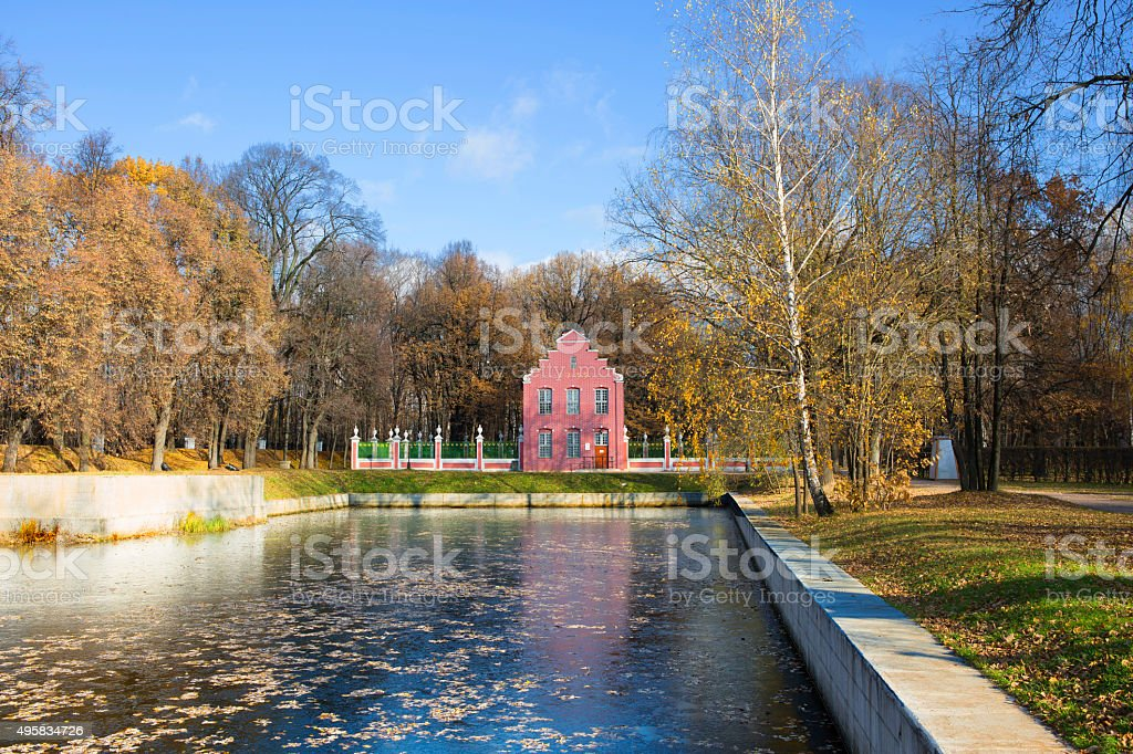 Moscow. Kuskovo. Holland house with a pond. stock photo