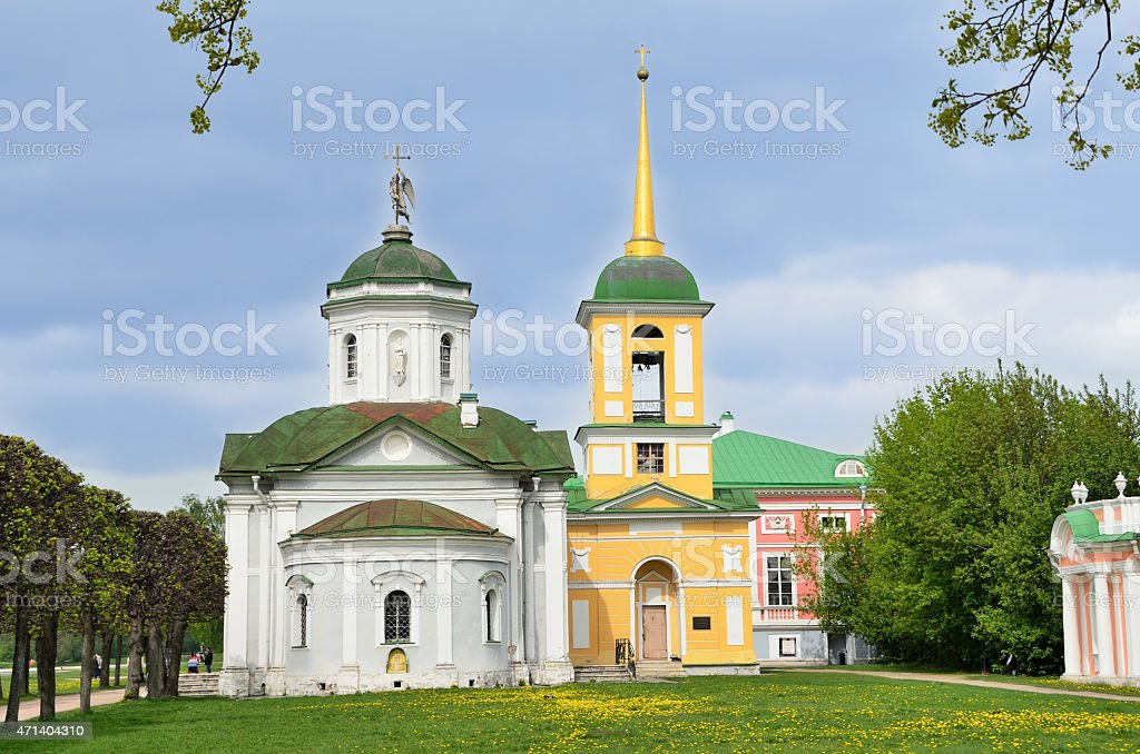 Moscow, Kuskovo, the church of the all-merciful Saviour stock photo