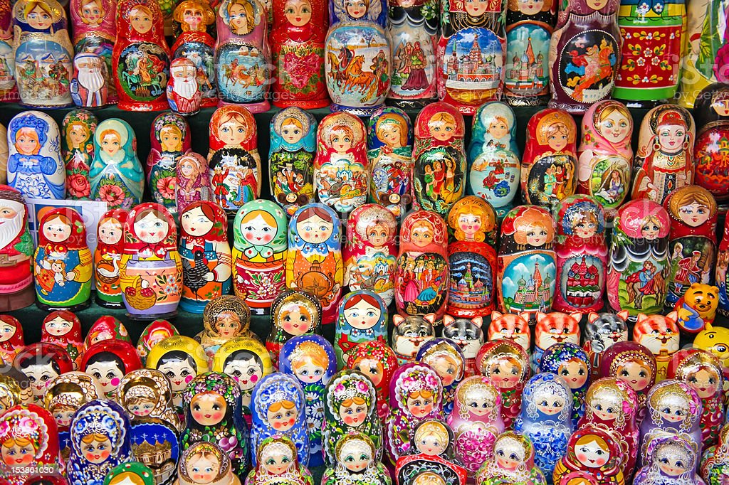 Moscow, Matryoshka at Russian market royalty-free stock photo