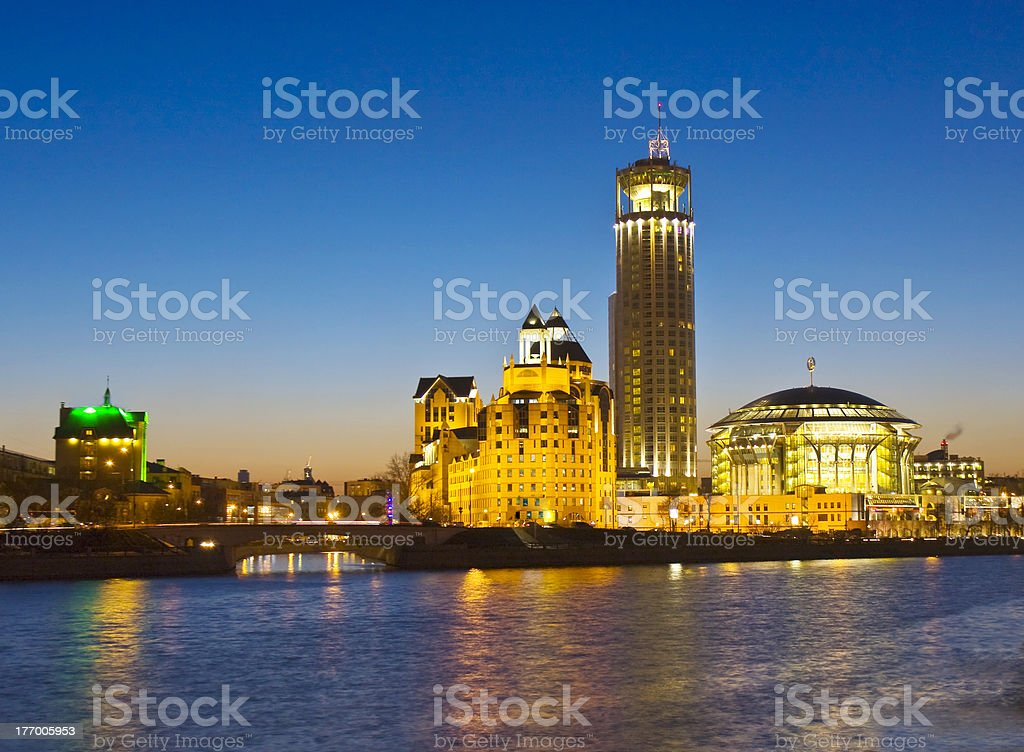 Moscow, modern buildings at night royalty-free stock photo