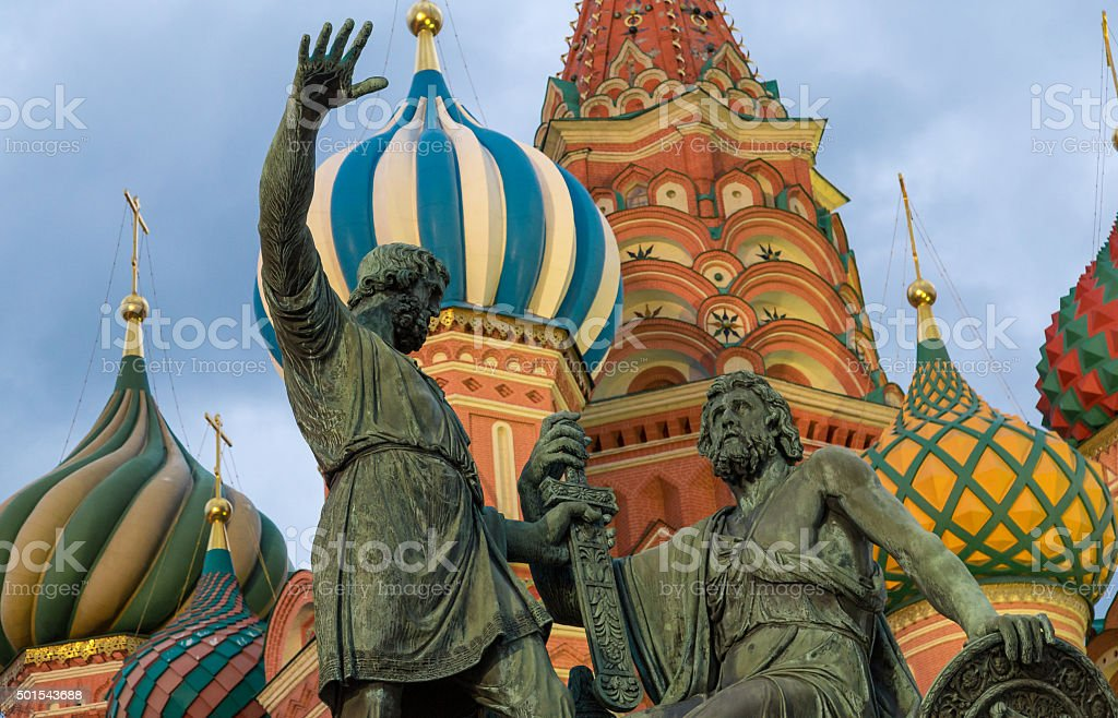 Moscow monuments to Minin and Pozharskiy stock photo