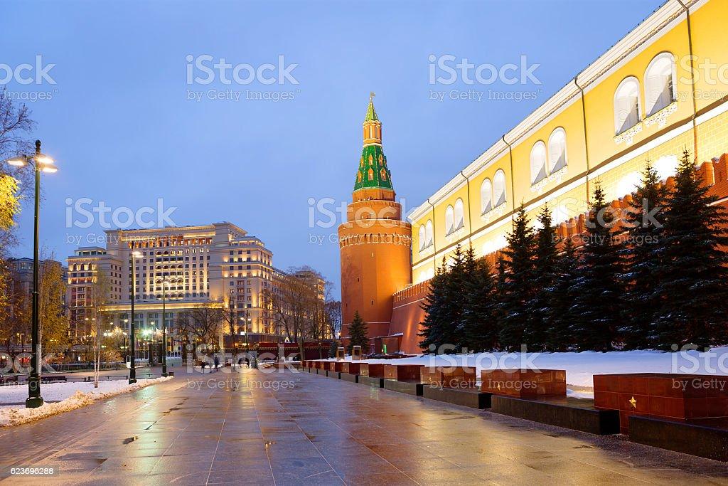 Moscow. Morning at the Kremlin walls. stock photo