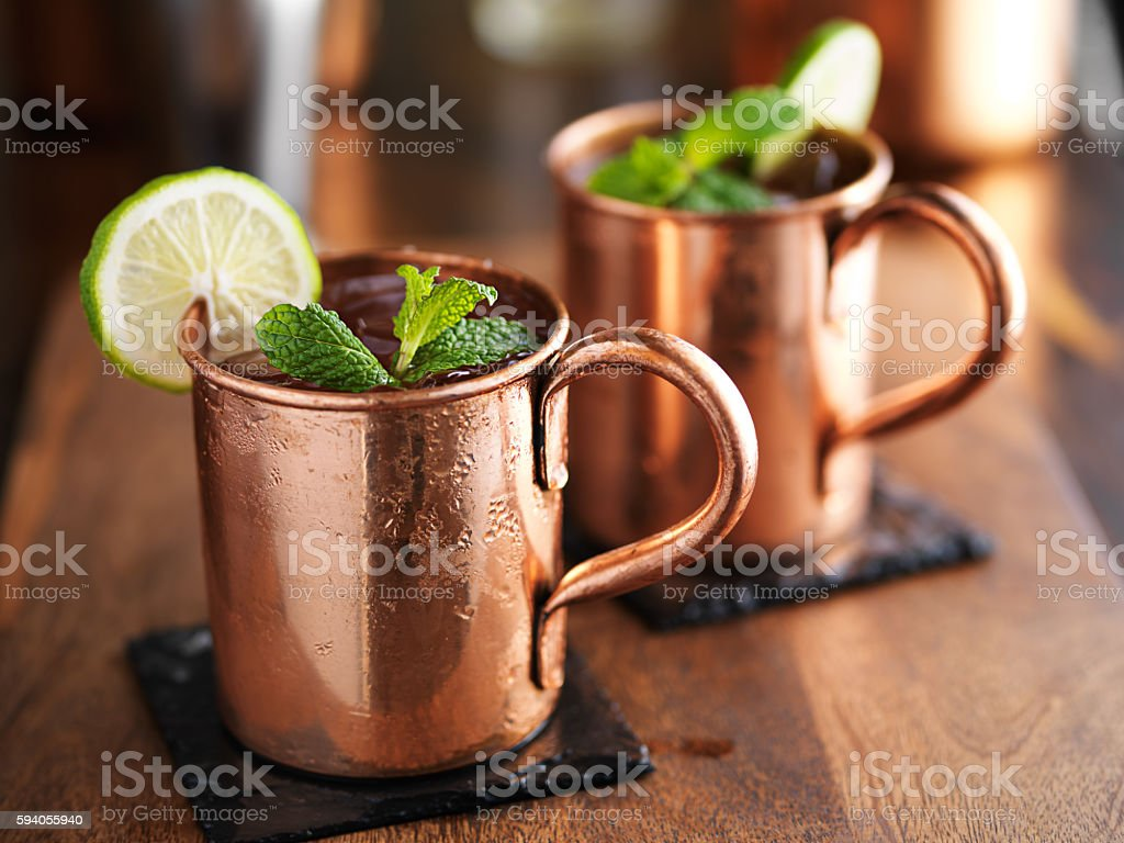 moscow mules in copper mugs stock photo