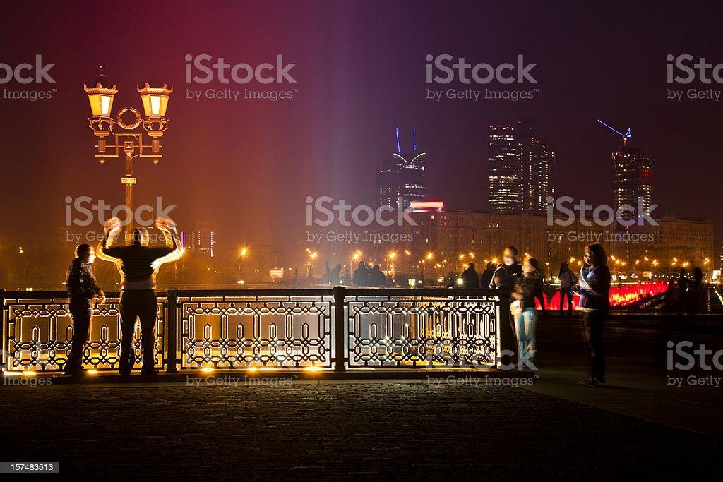 Moscow night cityscape with Victory Park on Poklonnaya Hill royalty-free stock photo