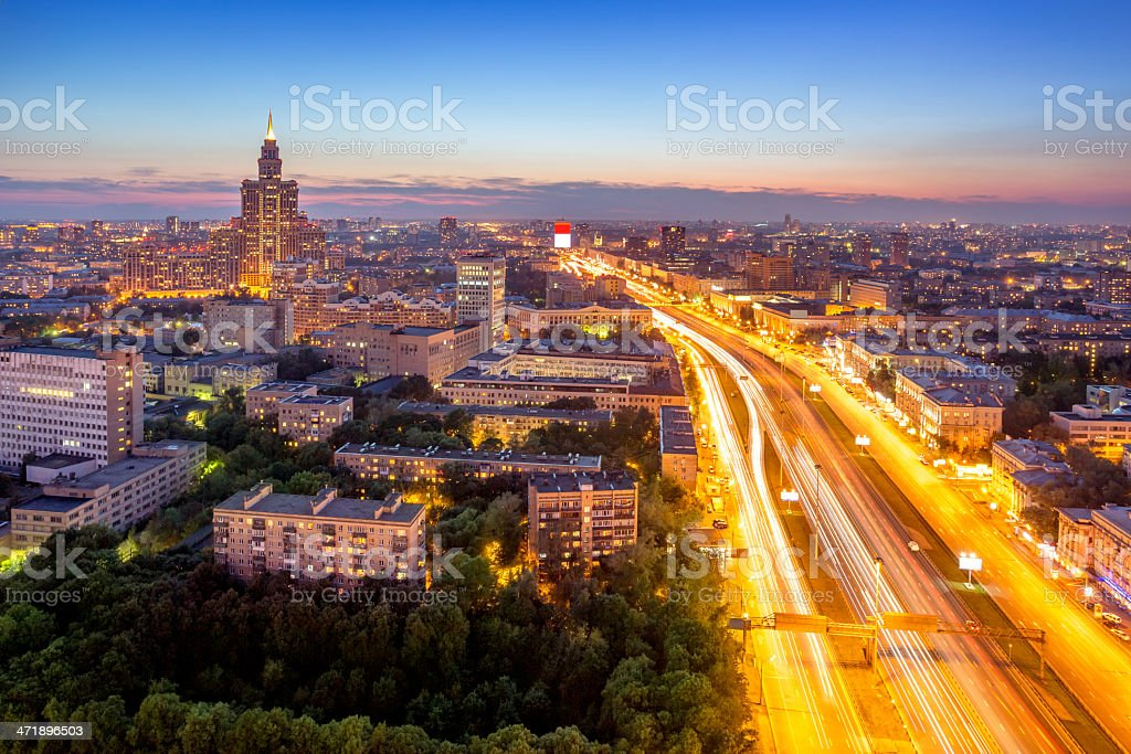 Moscow night urban view royalty-free stock photo