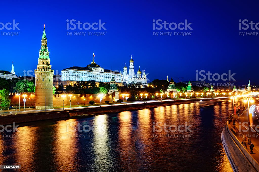Moscow, night view of the Kremlin. stock photo