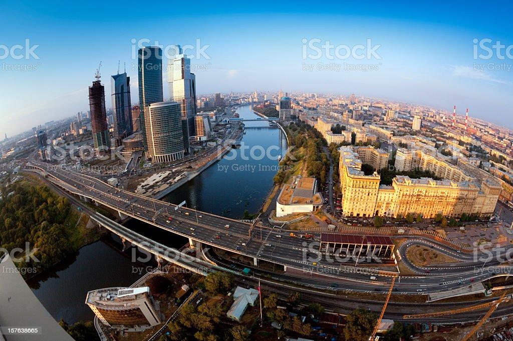 Moscow panorama. Fisheye shot stock photo