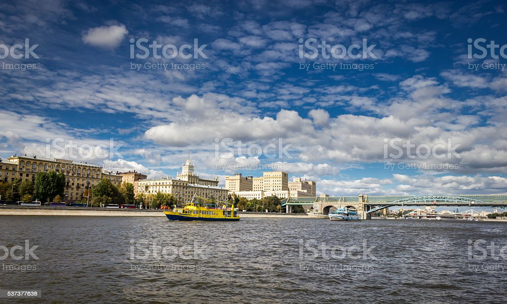 Moscow river boat stock photo