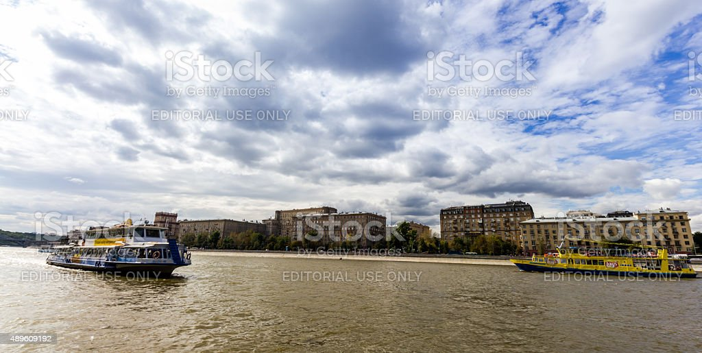 Moscow river boats stock photo
