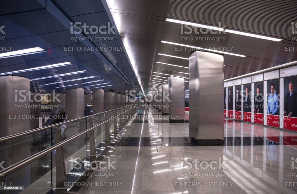 Moscow, Russia - 12 January 2016: Wide angle view of modern style of Vystavochnaya Moscow metro station stock photo
