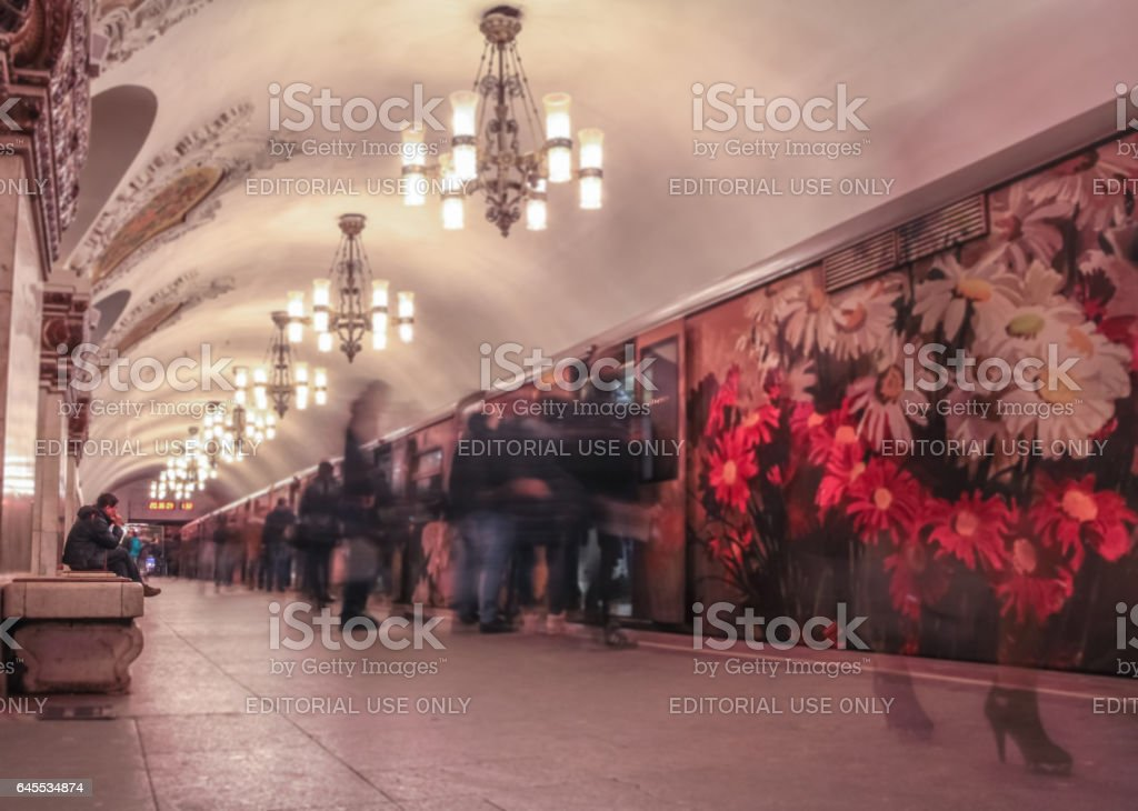 Moscow, Russia - 19 September 2015: Wide angle view of people inside Kievskaya Moscow metro station at long exposure stock photo