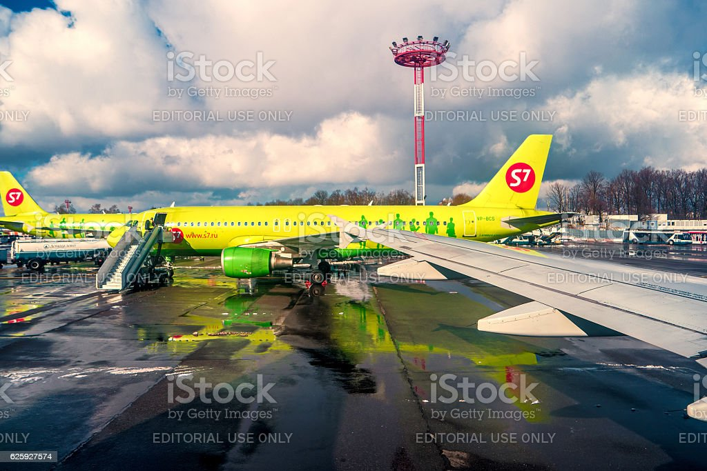 Moscow Russia 28 Feb. 2016: S7 airlainers in Domodedovo airport stock photo