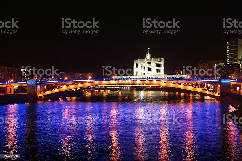 Moscow, Russia. Night. View from the embankment stock photo