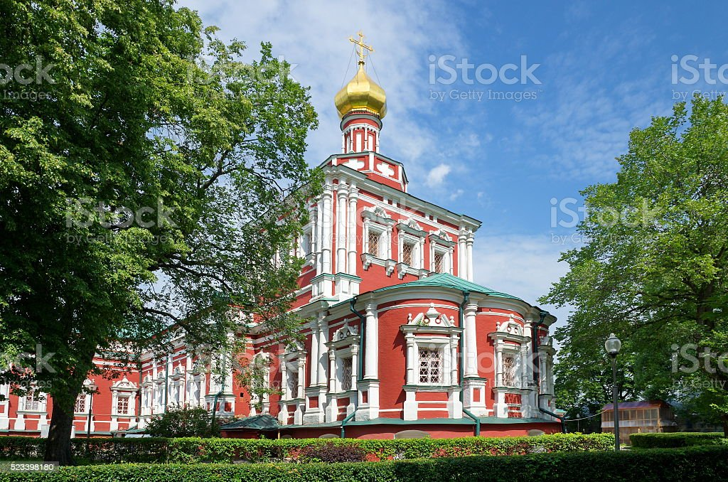 Moscow, Russia. Novodevichy convent. Smolensky Cathedral stock photo