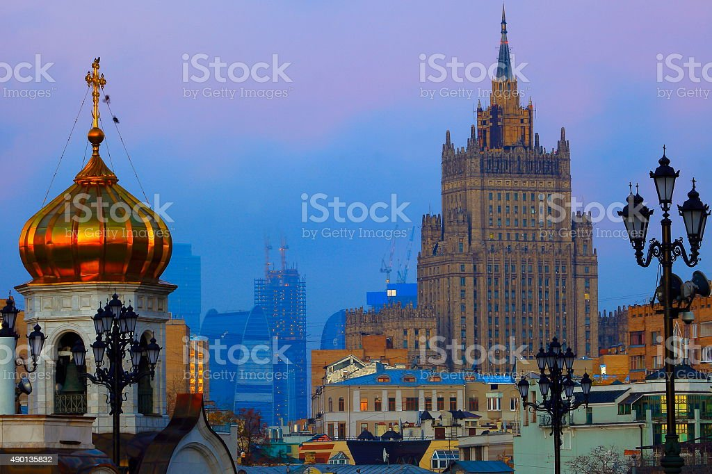 Moscow Russian cityscape panorama contrasts, gold sunrise stock photo
