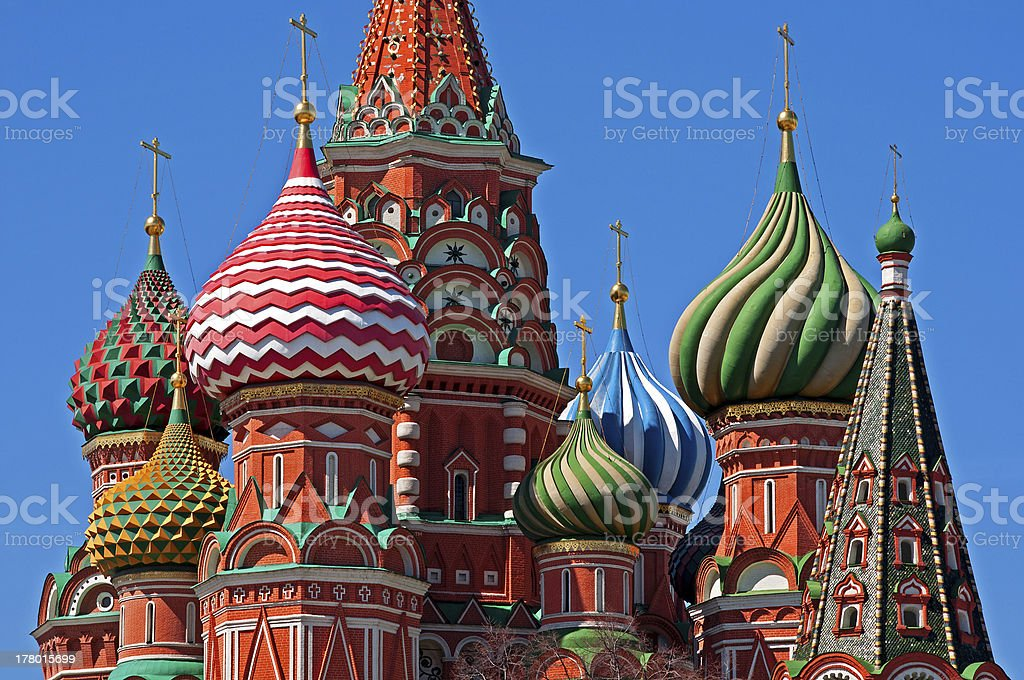 Moscow Saint Basil Cathedral cupola stock photo