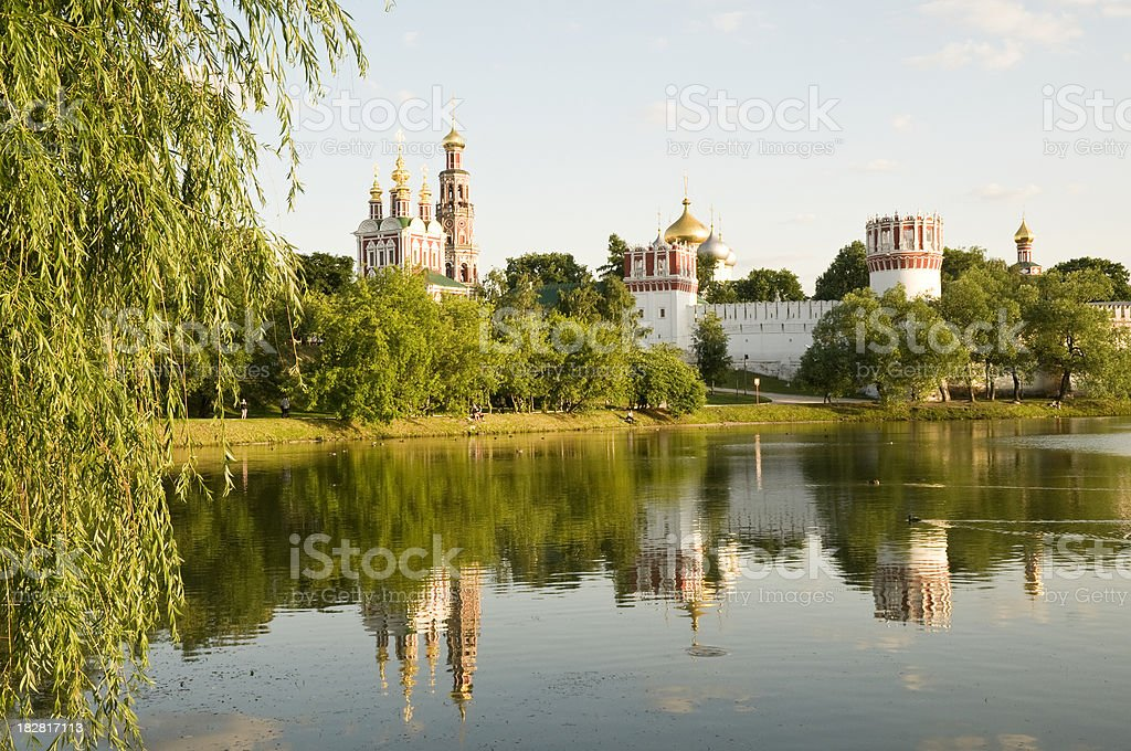 Moscow sightseeing - Panorama of Novodevichy Convent stock photo