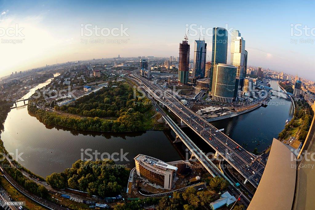 Moscow skyline. Aerial view. Fisheye shot stock photo