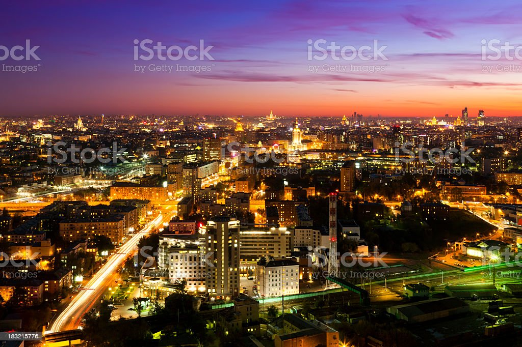 Moscow skyline at night. Aerial view royalty-free stock photo