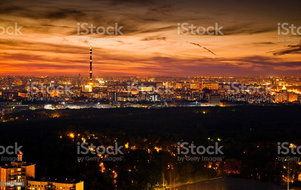 Moscow skyline at sunset. Aerial view royalty-free stock photo