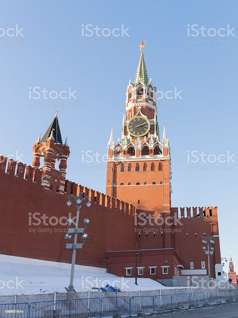 Moscow Spassky tower winter stock photo