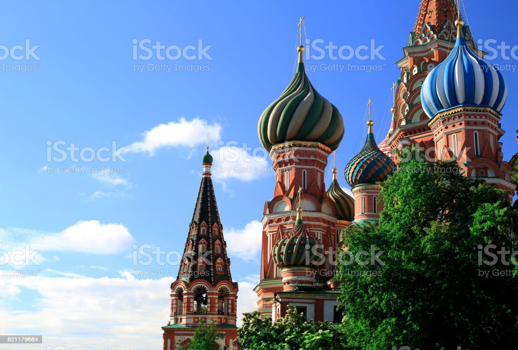 Moscow, St. Basil's Cathedral on red square stock photo