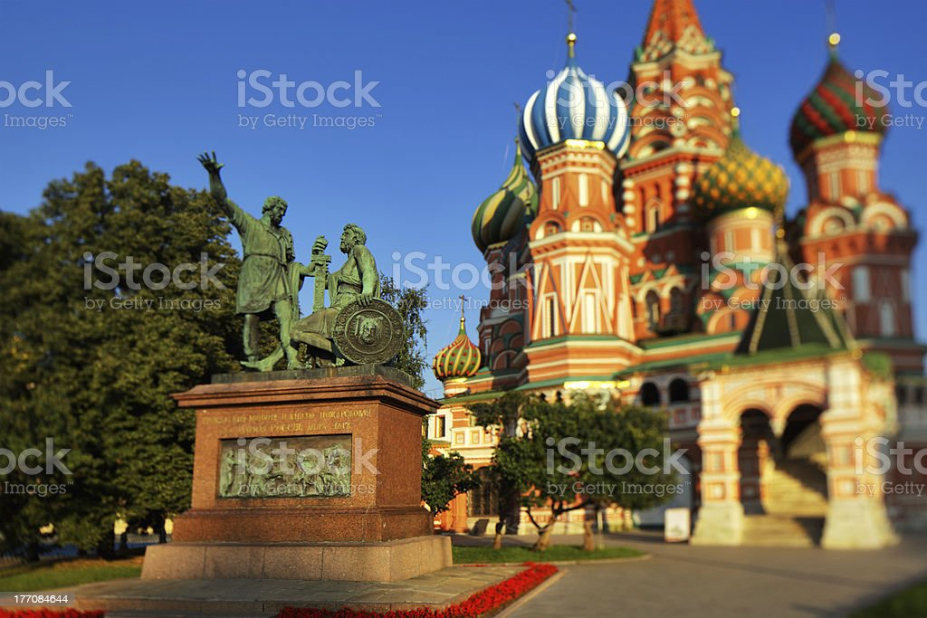 Moscow. St.Basil Cathedral, Minin and Pozharskiy monument stock photo