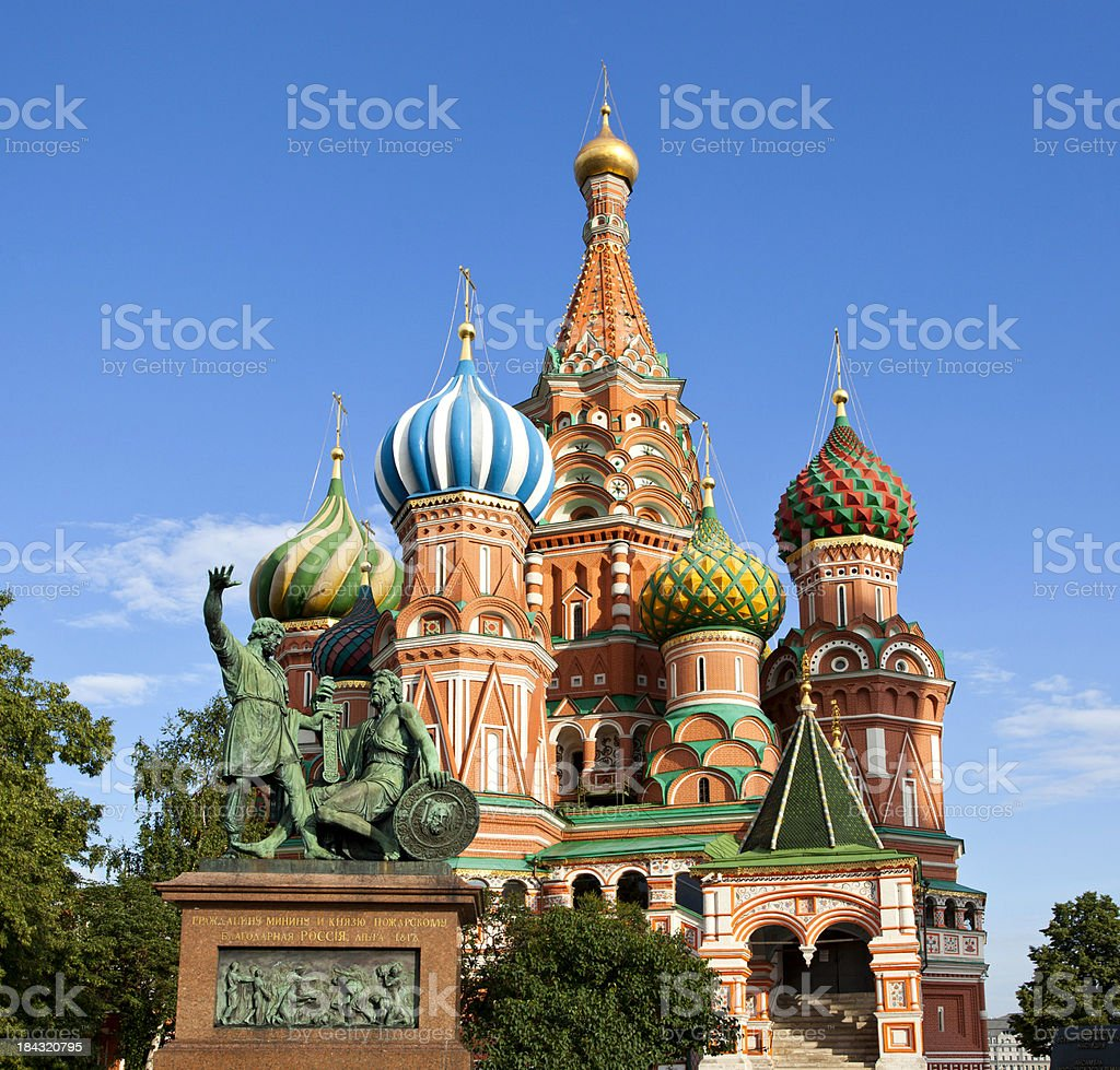 Moscow. St.Basil Cathedral, Minin and Pozharskiy monument. royalty-free stock photo