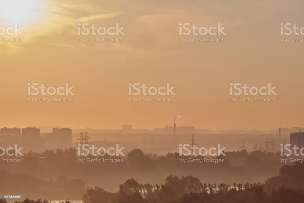 Moscow sunset view stock photo