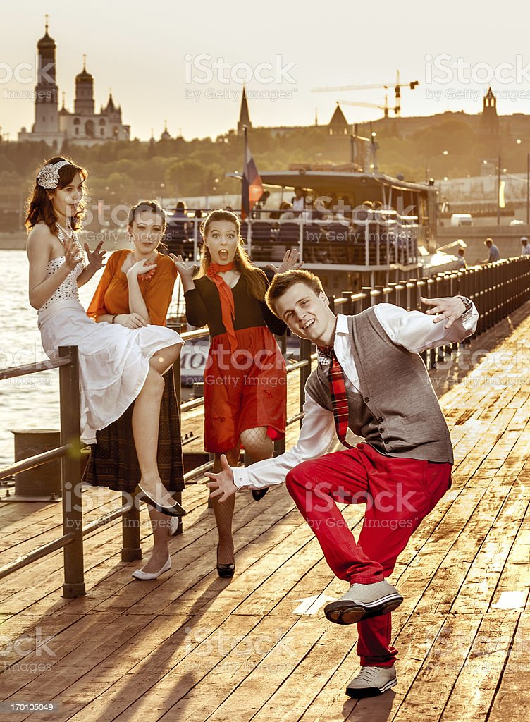 Moscow swing dancer stock photo