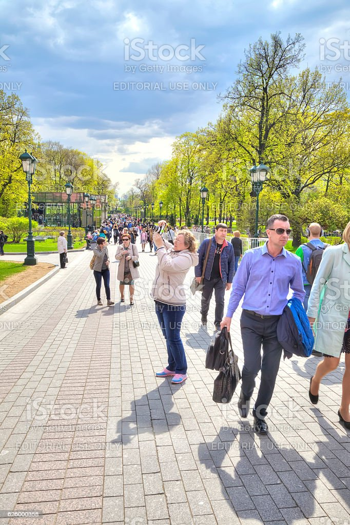 Moscow. Tourists in the Alexander Garden stock photo