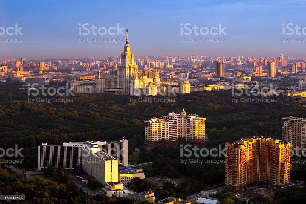Moscow University at dawn royalty-free stock photo