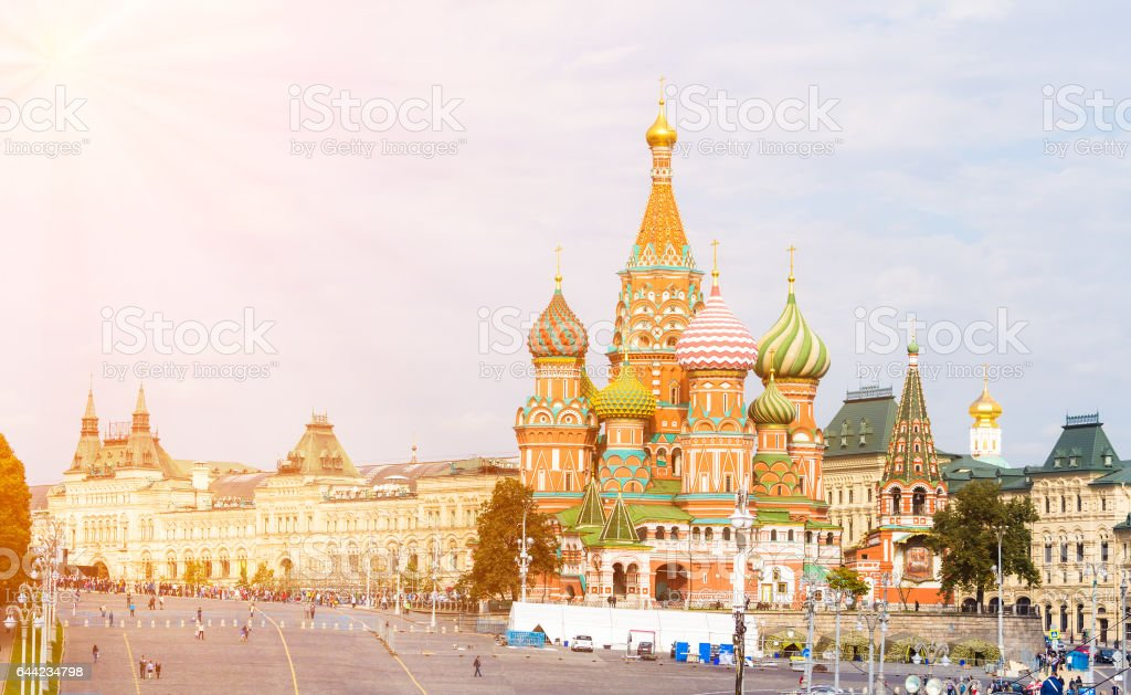 Moscow view with Saint Basil's Cathedral stock photo