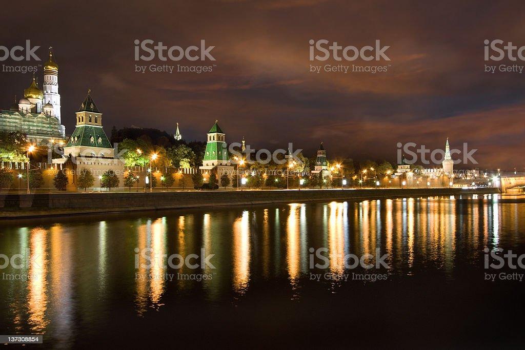 Moscow's Kremlin at night royalty-free stock photo