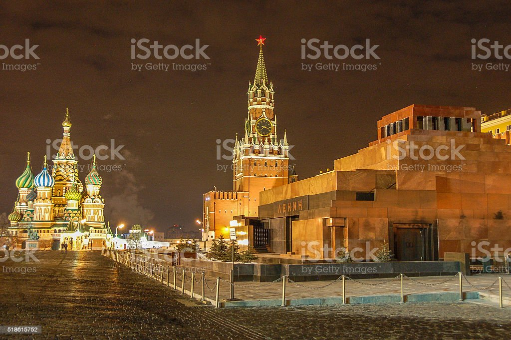 Moscow's Red Square with St Basil at night stock photo
