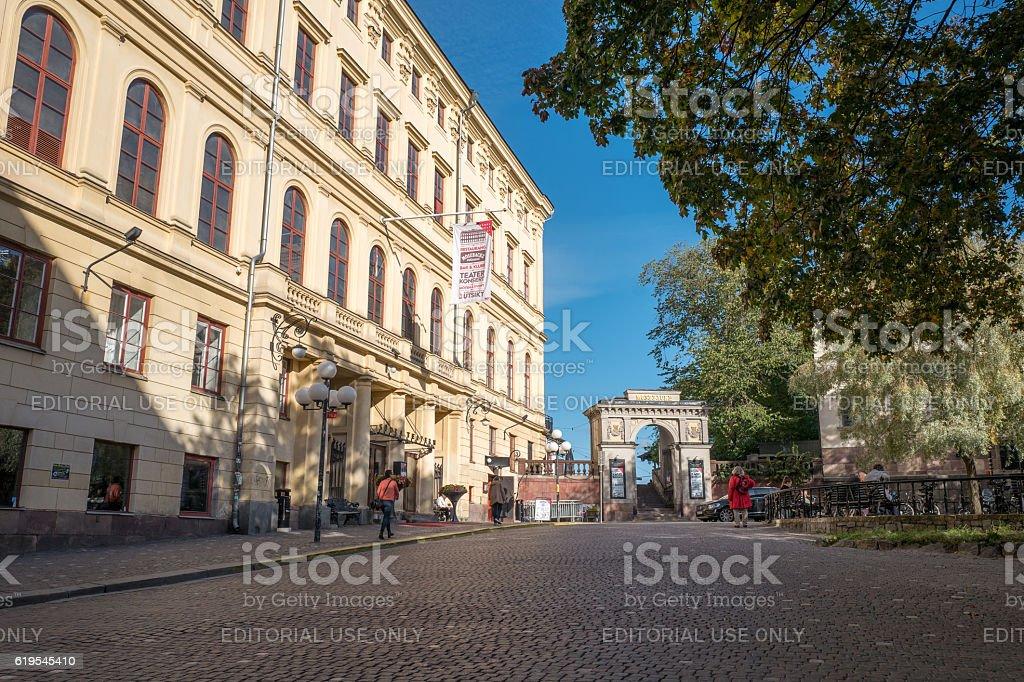 Mosebacke square in Stockholm stock photo