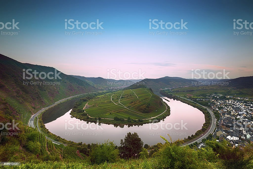 Mosel Bend (Moselschleife) at dawn, Germany stock photo