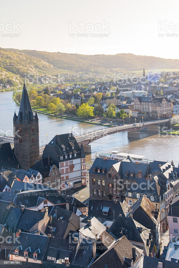Mosel from the hill in Vertical stock photo