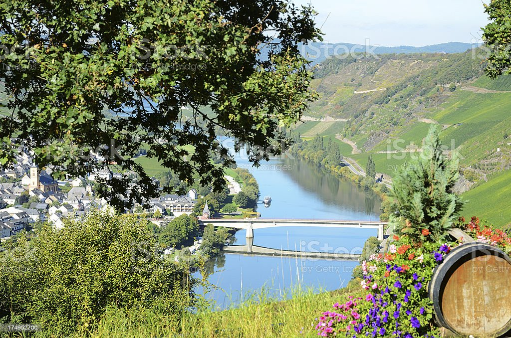 Mosel River and Valley with village in vineyard royalty-free stock photo