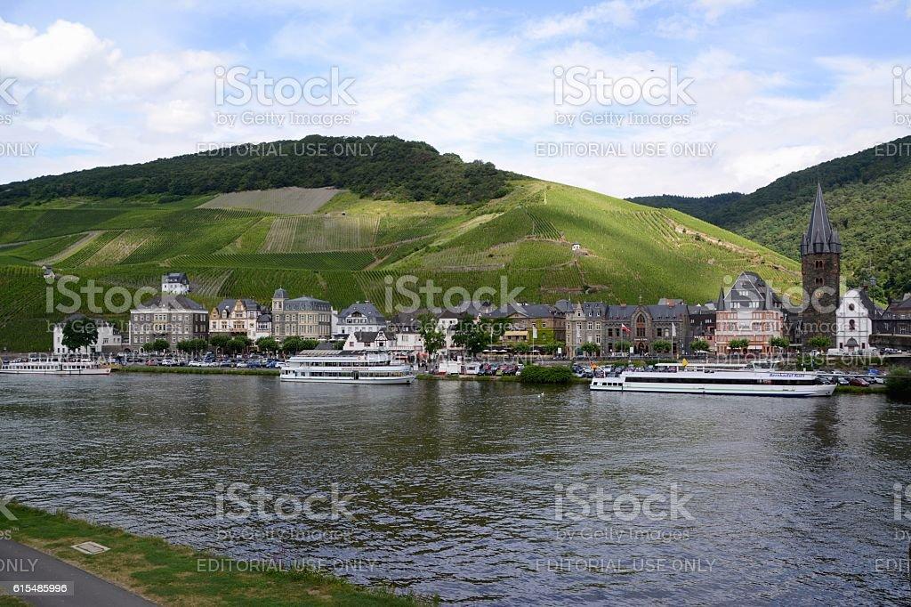 Mosel river at Bernkastel-Kues, Rhineland-Palatinate, Germany stock photo