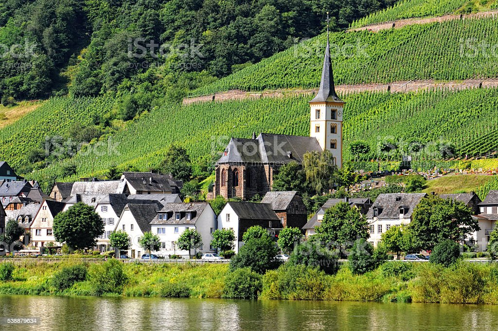 Mosel river at village Bremm with vineyard Calmont stock photo
