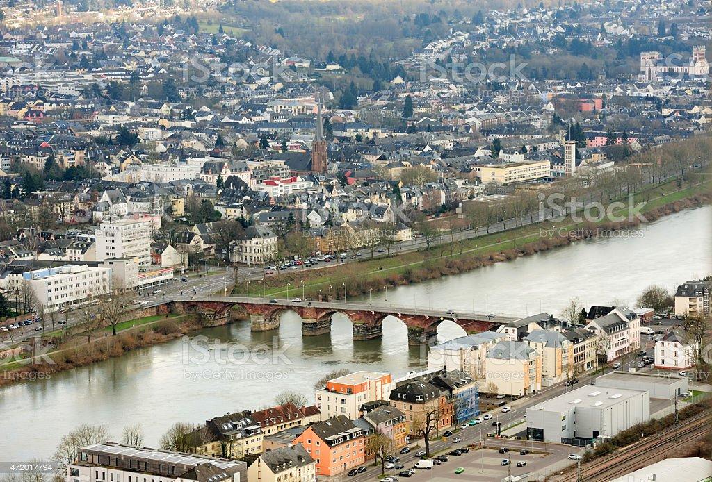 Mosel River, Romerbruke, Roman Bridge in Trier, Treves, Germany stock photo