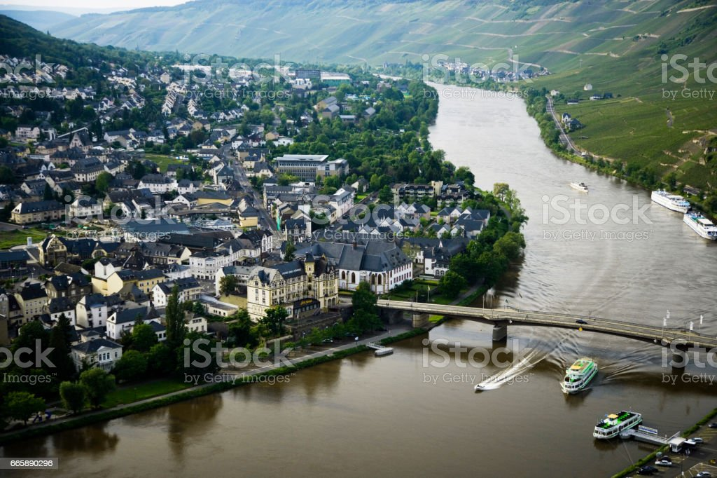 Moselle river and town stock photo