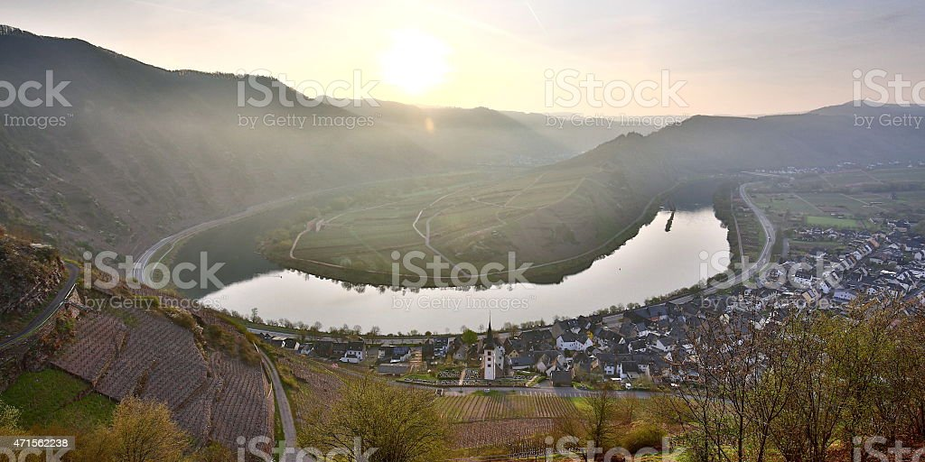 Moselle valley at sunrise in spring stock photo