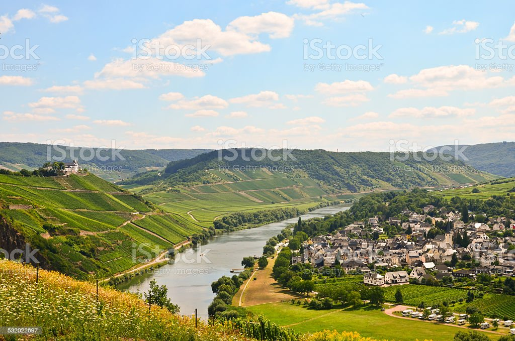 Moselle Valley Germany: View to Marienburg Castle and Village Puenderich stock photo