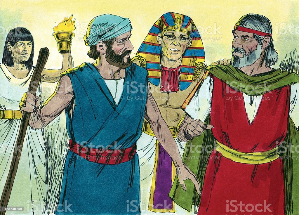Moses, Aaron Leave Pharaoh stock photo