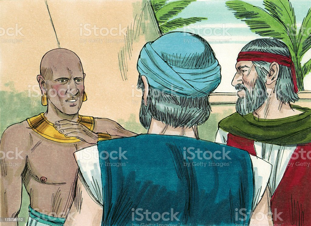Moses and Aaron Explain Plagues stock photo
