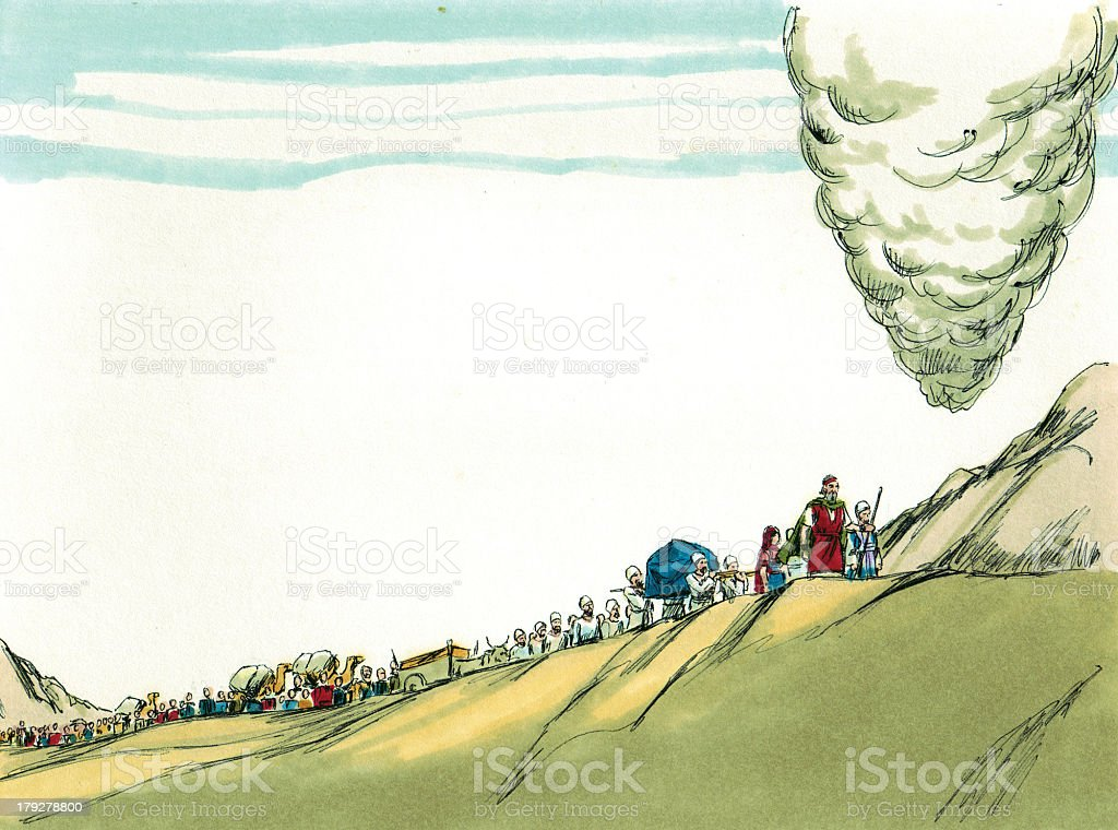 Moses and Israelites Follow Pillar of Smoke stock photo