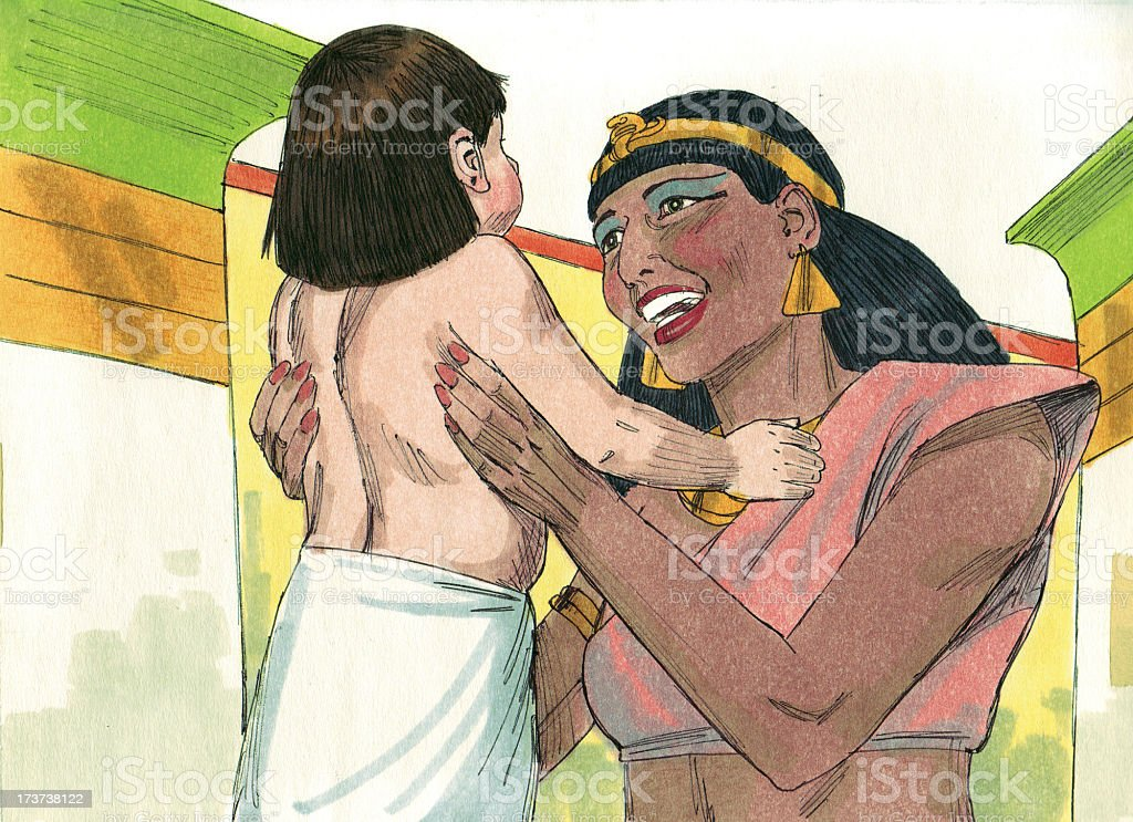 Moses and Pharaoh's Daughter stock photo