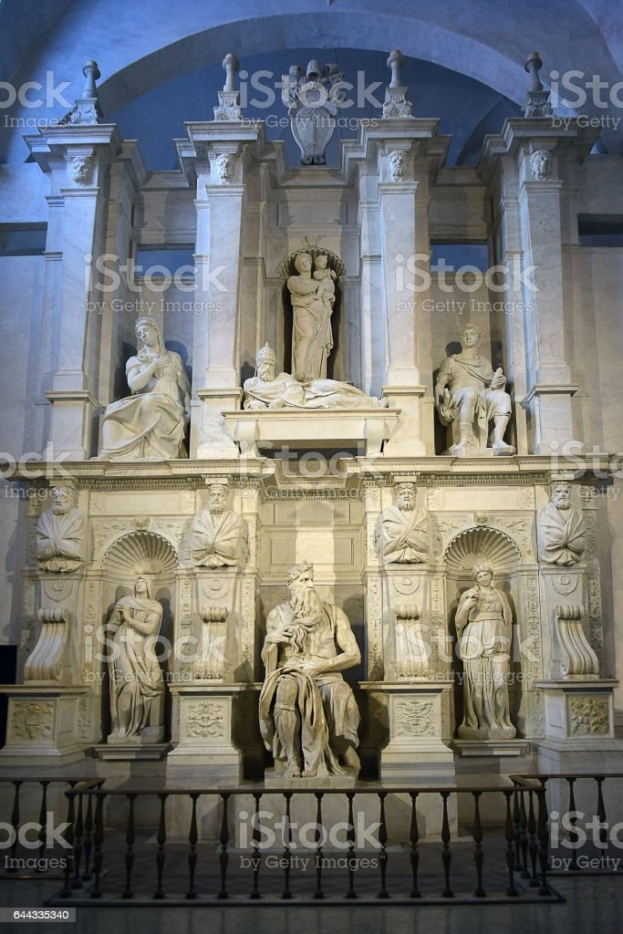 Moses by Michelangelo in San Pietro in Vincoli, Rome stock photo